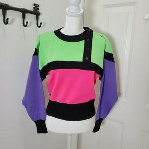 Nils Vtg 80s 90s Neon Sweater Colorblock Small EUC